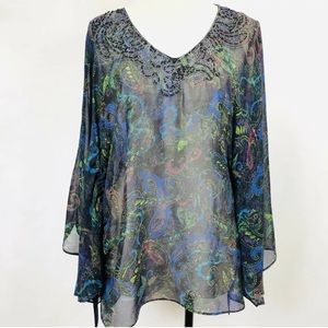 Chico's Embroided/Beaded Tunic Top Semi Sheer Silk